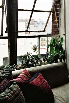 Love the windows and plants. Im really into nature but living in the city you can only do so much with it. So I like the large windows because you can really take advantage of the natural sunlight. Interior Exterior, Home Interior, Interior Architecture, Interior Decorating, Bohemian Interior, My New Room, My Room, Loft Industrial, Design Industrial