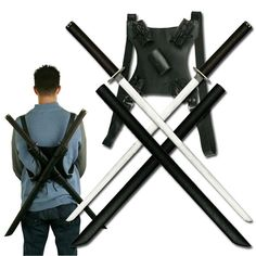 Twin ninja katana sword set with back strap. New in the market. Features 27 inch overall length, stainless steel blade, black cord wrapped handle, and includes black finished scabbard with dual sword shoulder strap.