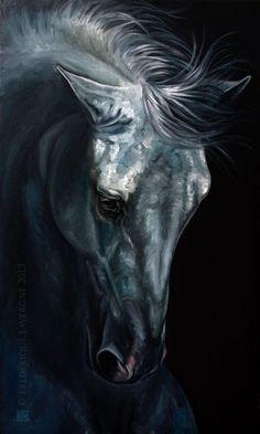 "Frederique Lavergne ~ ""Fugitivo"" - Oil on Canvas 2013 Black Canvas Paintings, Animal Paintings, Horse Drawings, Animal Drawings, Arte Equina, Horse Artwork, Black Horses, Equine Art, Pastel Art"