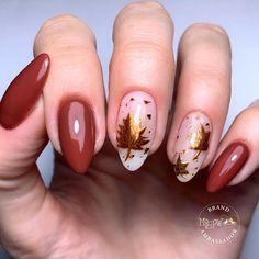 Foil Nail Designs, Sparkle Nail Designs, Red Nail Designs, Colorful Nail Designs, Fall Almond Nails, Autumn Nails, Almond Shape Nails, Fall Acrylic Nails, Thanksgiving Nail Designs
