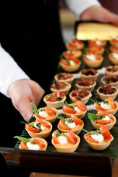 A refreshing, flexible approach to Wedding & Event Catering, Midlands based but catering across the UK. Call The Caterers event catering services. Party Finger Foods, Snacks Für Party, Appetizers For Party, Appetizer Recipes, Party Canapes, Vegetarian Canapes, Mini Foods, Appetisers, Food Presentation