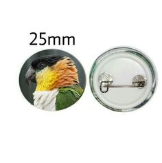 Black-headed Caique 25mm Button Pin Badge (PG-01046) Pin Badges, Parrot, Button, Gifts, Black, Parrot Bird, Presents, Black People, Favors