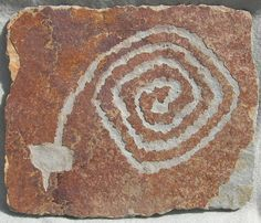 Rattlesnake spiral. Culture: Mogollon. Found at Pony Hills, NM, an area occupied prehistorically by the Mimbres,
