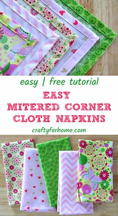 Easy sewing tips on how to make handmade mitered corners napkins tutorial from fat quarter fabric as an easy DIY project for home and easy sewing project for the kitchen. sew einfach clothes crafts for beginners ideas projects room Sewing Hacks, Sewing Tutorials, Sewing Tips, Sewing Blogs, Fat Quarters, Sewing Stitches, Sewing Patterns, Clothes Patterns, Fabric Crafts