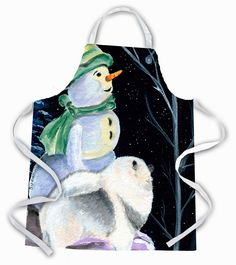 Snowman with Keeshond Apron