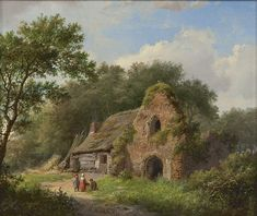 Fantasy Art Landscapes, Beautiful Landscapes, Landscape Paintings, Medieval Houses, Impressionist Artists, Cottage Art, Autumn Scenery, Dutch Painters, Impressionism