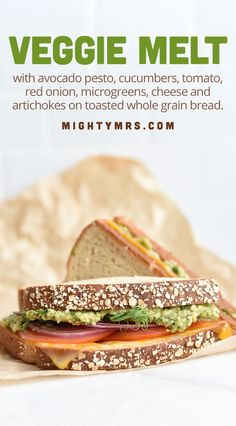 Veggie Melt Sandwich - This toasted sandwich is packed full of healthy vegetables. Stacked with a delicous blend of avocado pesto, cucumbers, tomato, cucumber, red onion, melted cheese and artichokes all sandwiched between whole grain bread and lightly toasted. This healthy sandwich is great for lunch or dinner. You won't beleive the amazing flavor of the California style sandwich. Recipe inspired by a local health-foods cafe. Healthy Sandwich Recipes, Chicken Sandwich Recipes, Delicious Sandwiches, Tea Sandwiches, Beef Recipes, Vegetarian Recipes, Quick Healthy Lunch, Healthy Grilling, Healthy Eating