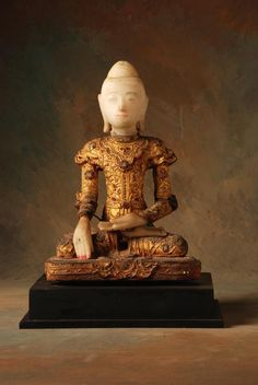 """Jambupati Seated Buddha in Calling the Earth to Witness Gesture/Posture. Statue 18th Century, Burma ,Shan State Alabaster w/Gold Laquer and ornamentation """"jewels"""" Medium 17h x 12w x 10d in"""