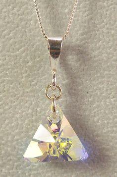 Swarovski Triangle Crystal Pendant Clear Crystal AB Jewelry with Sterling Silver Bail Swarovski Crystal Aurora Borealis Necklace Geometric by KBeadsIt on Etsy