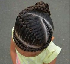 """""""Another tight braids style. I did a French braid with a cornrow into a…"""" """"Another tight braids styl Lil Girl Hairstyles, Kids Braided Hairstyles, Girl Haircuts, Natural Hairstyles For Kids, Teenage Hairstyles, Bob Haircuts, Wedding Hairstyles, Braids For Kids, Girls Braids"""