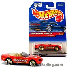 Hot Wheels Year 1998 Sugar Rush Series 1:64 Scale Die Cast Car Set #2 - Nestle 100 Grand Red Color Sports Convertible Coupe JAGUAR XK8 21318