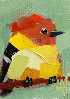 Western Tanager no. 21 ACEO original Bird oil painting by Angela Moulton #Impressionism