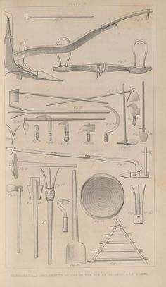 Plate II. Agricultural implements in use in the Ionian Islands and Malta. From: John Davy. Notes and observations on the Ionian Islands and Malta: with some remarks on Constantinople and Turkey, and on the system of quarantine as at present conducted. Vol.1. London: Smith, Elder & Co, 1842 [FCO Historical Collection DF29 DAV]