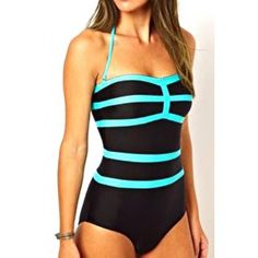 Sexy Halter Sleeveless Color Block Women's One-Piece Swimwear (BLACK,XL) in One-Pieces | DressLily.com