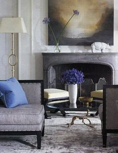 Love the silky, velvety grey of the rug, and the touches of indigo and violet...