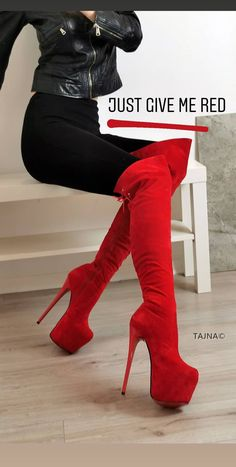 A typical arched foot is usually well balanced and therefore flexible sufficient to function well in many shoe types. If the user's activity includes a reasonable quantity of running or walking; then stability shoes would be an ideal option. Red Knee High Boots, Knee High Heels, High Shoes, Red Boots, Long Boots, Platform High Heels, High Heel Boots, Over The Knee Boots, Heeled Boots