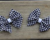 Pinwheel Hair Bow - Black and White Houndstooth (Set of 2)