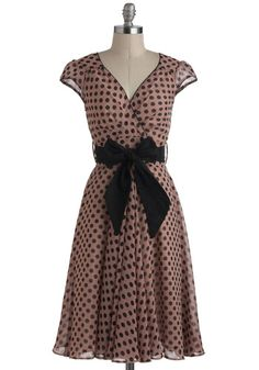 Have the Dance Floor Dress - Long, Pink, Black, Polka Dots, Belted, Party, Vintage Inspired, A-line, Cap Sleeves, V Neck, 50s