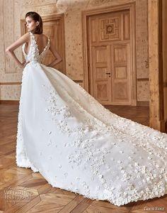tarik ediz 2017 bridal sleeveless deep v neck full embellishment elegant fit and flare wedding dress a line overskirt chapel train (12) bv