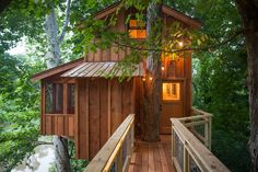 A long bridge, suspended only by trees, leads to the treehouse.