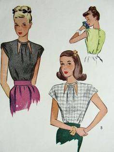 FILM NOIR Style Blouse Pattern McCALL 6256 Peek A Boo Cutout Neckline, 2 Sleeve Styles Bust 34 Vintage Sewing Pattern -Authentic vintage sewing patterns: This is a fabulous original dress making pattern, not a copy. Because the sewing patterns Dress Making Patterns, Vintage Dress Patterns, Blouse Vintage, Blouse Patterns, Clothing Patterns, Vintage Dresses, Vintage Outfits, Moda Vintage, Vintage Tops