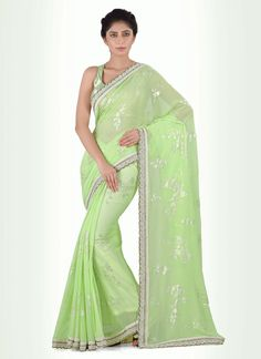 Add grace and charm for your appearance in this appealing georgette designer…