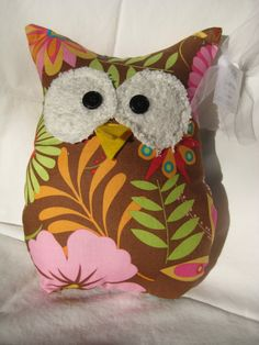 Hooters Stuffed Owl Pillow Flora by sweetpitas on Etsy, $14.00