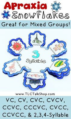 Work on multiple syllable structures during therapy and go home with a cute snowflake to practice carryover! Resource idea for childhood apraxia of speech! Articulation Therapy, Articulation Activities, Speech Therapy Activities, Language Activities, Phonics, Preschool Activities, Speech Language Pathology, Speech And Language, Language Arts