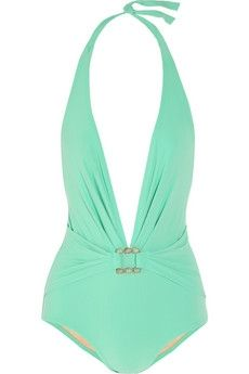 Karla Colletto | Turquoise Square plunge-front swimsuit | NET-A-PORTER.COM - StyleSays