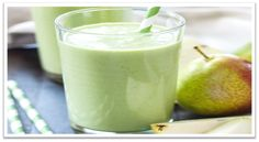 Pear Ginger Smoothie by reciperunner:This refreshing Pear Ginger Smoothie is packed with greens, healthy protein and fiber! Perfect for breakfast, snack or even a healthy dessert. Smoothie Recipes With Yogurt, Yogurt Smoothies, Pear Smoothie, Juice Smoothie, Smoothie Drinks, Smoothie Bowl, Healthy Smoothies, Healthy Drinks, Healthy Protein
