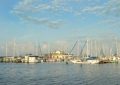 Wide angle shot in the early morning hours of one of Florida's favorite live aboard marina's. Regatta Pointe Marina, Palmetto, FL
