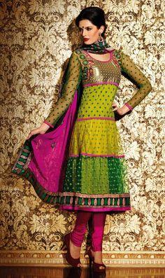 $95.24 Green Net Thread Work Anarkali Salwar Kameez 24417