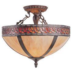 Z-Lite Marrakech Chestnut Bronze 3 Light Semi Flush Mount Z14-17-14