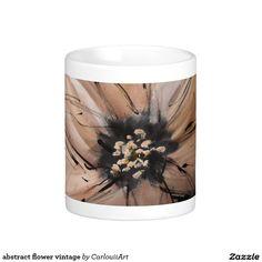 abstract flower vintage classic white coffee mug Flower Vintage, White Coffee Mugs, Abstract Flowers, Custom Mugs, Classic White, Travel Mug, Tea Cups, Tableware, Art