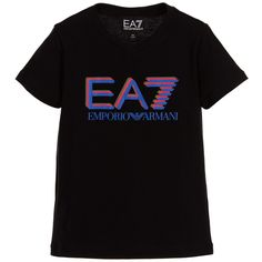 ARMANI EA7 Boys Black EA7 Cotton T-shirt