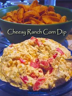 Cheesy Ranch Corn Dip...goes great with crackers, chips, and veggies! #recipe #appetizer #snack