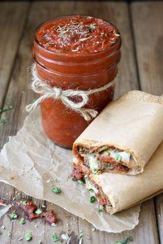 Vegan pizza burrito and easy pizza sauce