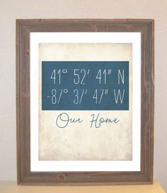 Latitude Longitude Customizable Art Print. $16.00, via Etsy...really cute idea for a first home for M & D