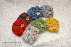 Crochet newborn baby boy hat basketweave checker