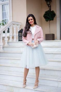 Falda de tul Space 46 Boutique Dove Gray Tulle Skirt Pink Biker jacket cazadora biker rosa Crimenes de la Moda blog