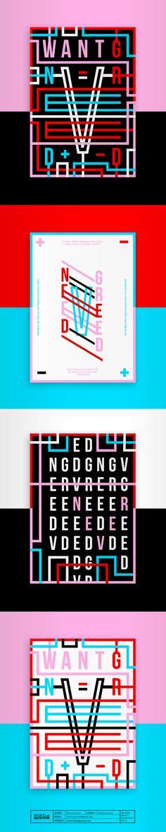 Shanti Sparrow Design Behancé - 19 de marzo de 2017 Need V Greed Poster Series Diseño gráfico Dirección artística Marcas