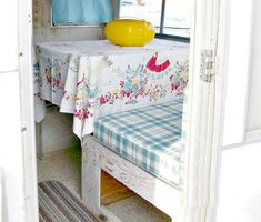 My Vintage Trailer - New Ceilings & Seats - Little Vintage Cottage Aristocrat Trailer, Vintage Camper Interior, Vintage Trailers, Cushion Fabric, Furniture Makeover, Ceilings, Diy Home Decor, Toddler Bed, Cushions