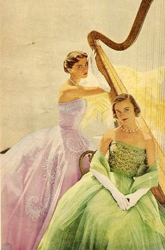 vintage 1950s fashion evening gowns strapless pink green sheer prom formal models magazine