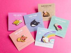 ♥ Hard enamel pins and cute stationery ♥ by Happyfruitshop Happy Fruit, Pins Badge, Kawaii Accessories, Cute Stationery, Cool Pins, Cute Charms, Pin And Patches, Hard Enamel Pin, Lapel Pins