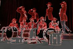 'Ladys' in Red. All female drumline