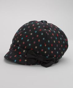 Navy & Red Square Dot Wool-Blend Newsboy Cap by Jeanne Simmons Accessories