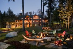 love the backyard firepit with the adirondack chairs.