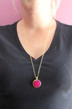 Magenta Jade Pendant Necklace. $65.00, via Etsy.