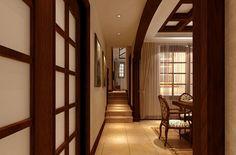 Villa #interior #design #corridor cabinet droplight window Visit http://www.suomenlvis.fi/