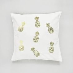 Gold Pineapple Pillow Pineapple Pattern Pillow by LovelyPosters